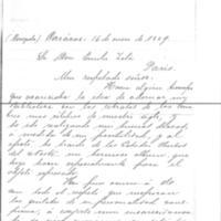 Lettre de Julio Torres Cardenas à Émile Zola du 16 mars 1889