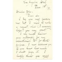 Lettre de Olive May Perceval à Émile Zola du premier décembre 1889