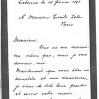 Billet de Thomaz Ribeiro à Émile Zola du 14 février 1898