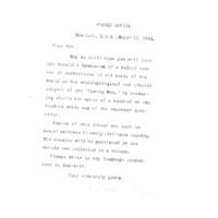 Lettre de Wallace Wood à Émile Zola du 15 mars 1891