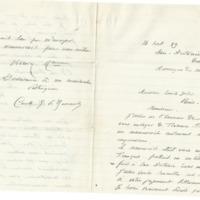 Lettre du Comte de Baroncelli à Émile Zola du 16 septembre 1889