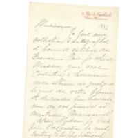 Lettre de Warren-Cram à Émile Zola datée de 1887