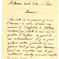 Lettre de Ch. de Raemg [?] à Émile Zola du 3 février 1898