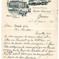 Lettre de Horacio Moncuif Allen à Émile Zola du 15 janvier 1898
