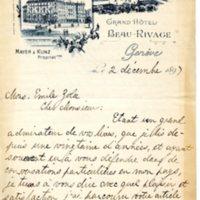 Lettre de Horacio Moncuif Allen à Émile Zola du 2 décembre 1897