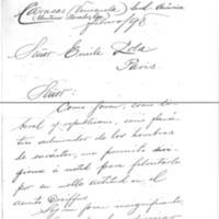 Lettre de Eleuterio Morales à Émile Zola de février 1898