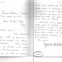 Lettre de Tavera-Acosta à Émile Zola du 2 mars 1898
