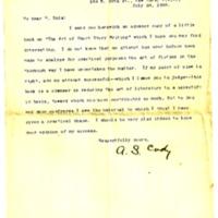 Lettre de A. S. Cody à Émile Zola du 24 juillet 1894