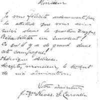 Billet de J**** Neves S. de Carvalho à Émile Zola du 14 février 1898