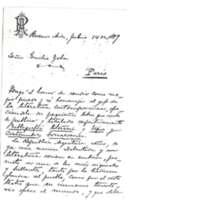 Lettre de Juan A. Piaggio à Émile Zola du 14 juillet 1889