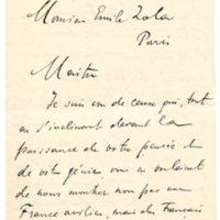 Lettre d'un admirateur à Émile Zola du 19 février 1898