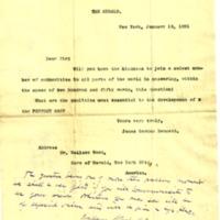 Lettre de James Gordon Bennett à Émile Zola du 13 janvier 1891