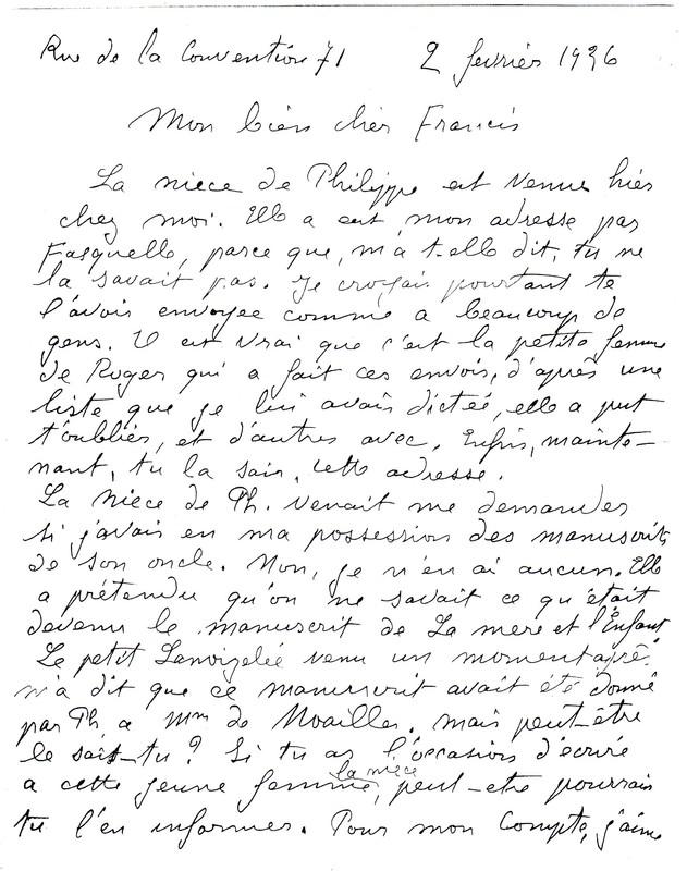 Exemple d'une lettre de Marguerite Audoux à Francis Jourdain