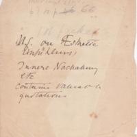 Manuscript on Aesthetic Einfühlung, Innere Nachahmung, Etc.