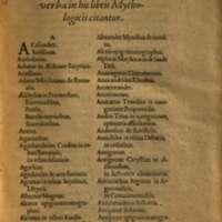 Mythologia, Francfort, 1581 - Catalogus nominum variorum scriptorum, et operum...