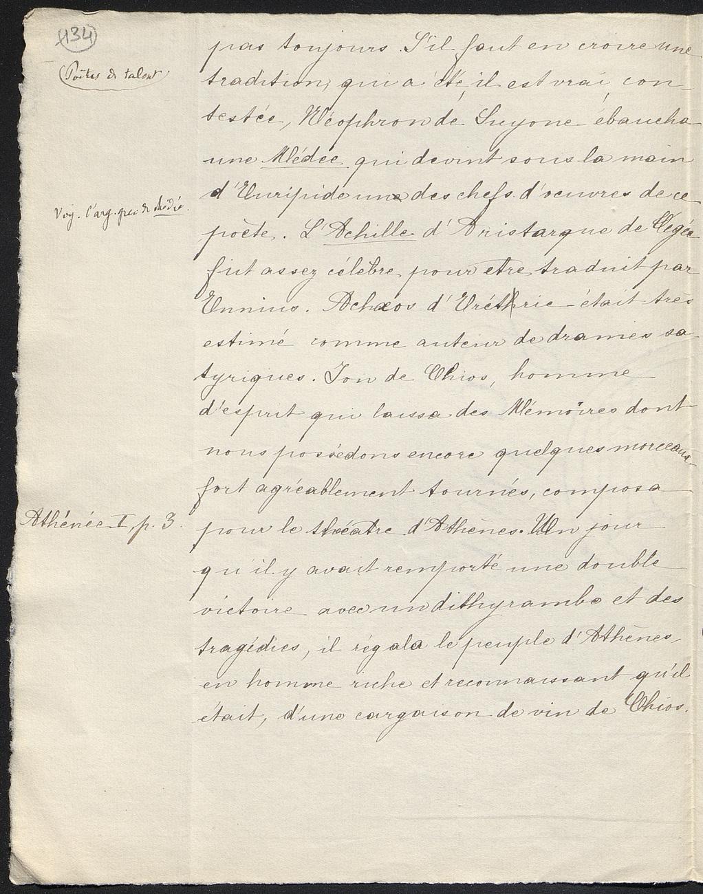 [folio 134 : foliotation de la main de bibliothécaire]