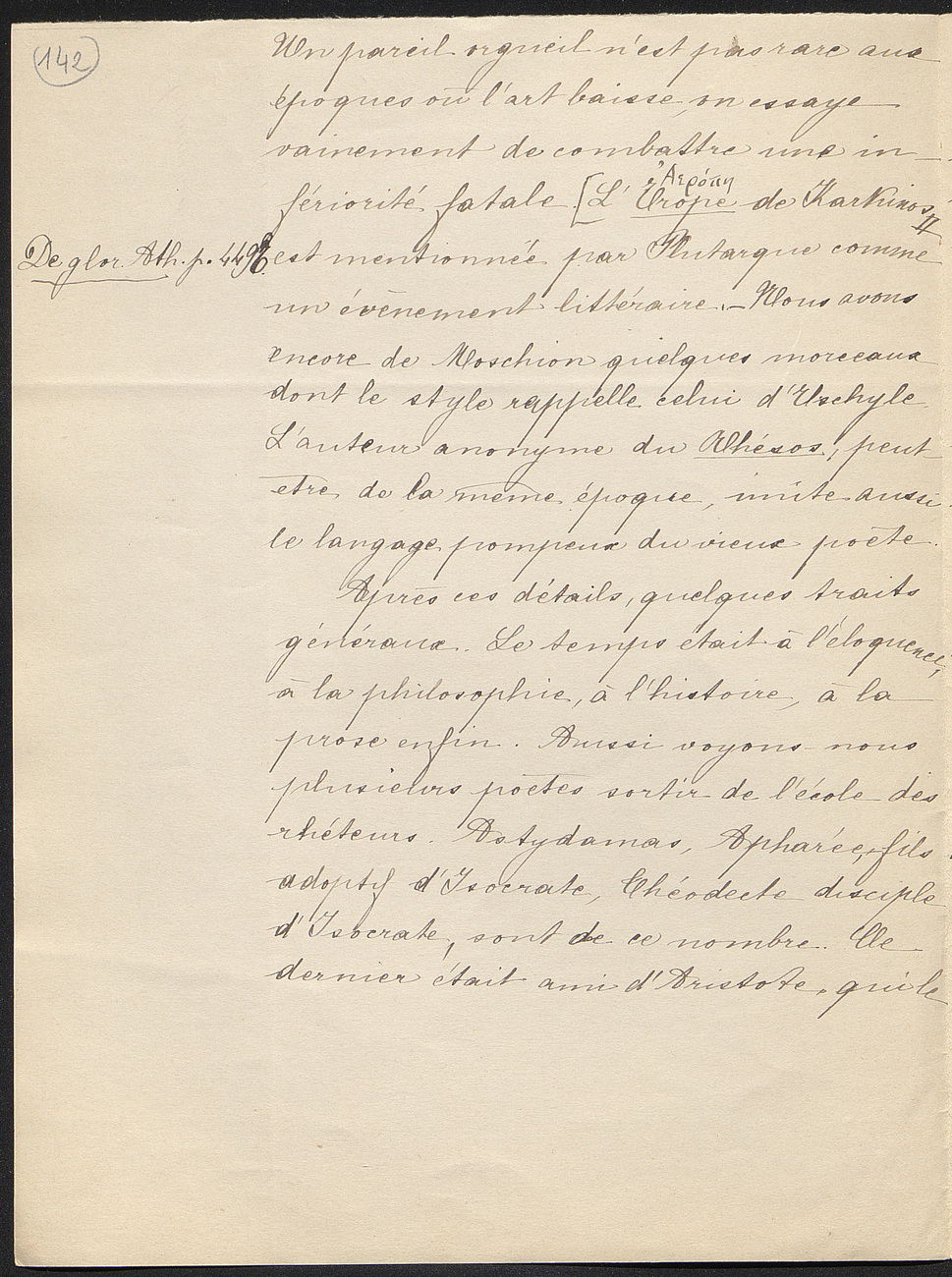 [folio 142 : foliotation de la main de bibliothécaire]