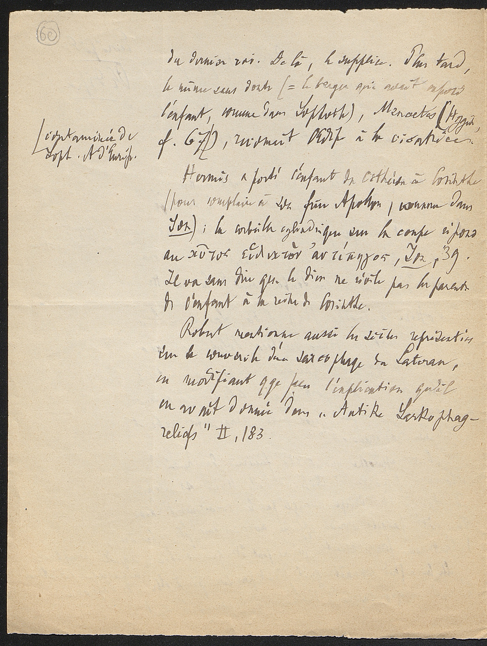 [folio 60 : foliotation de la main de bibliothécaire]