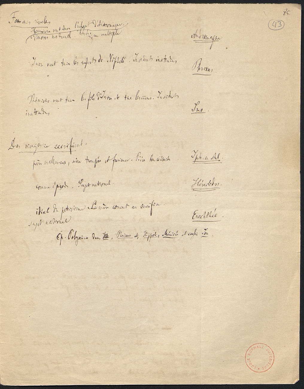 [folio 43 : foliotation de la main de bibliothécaire]