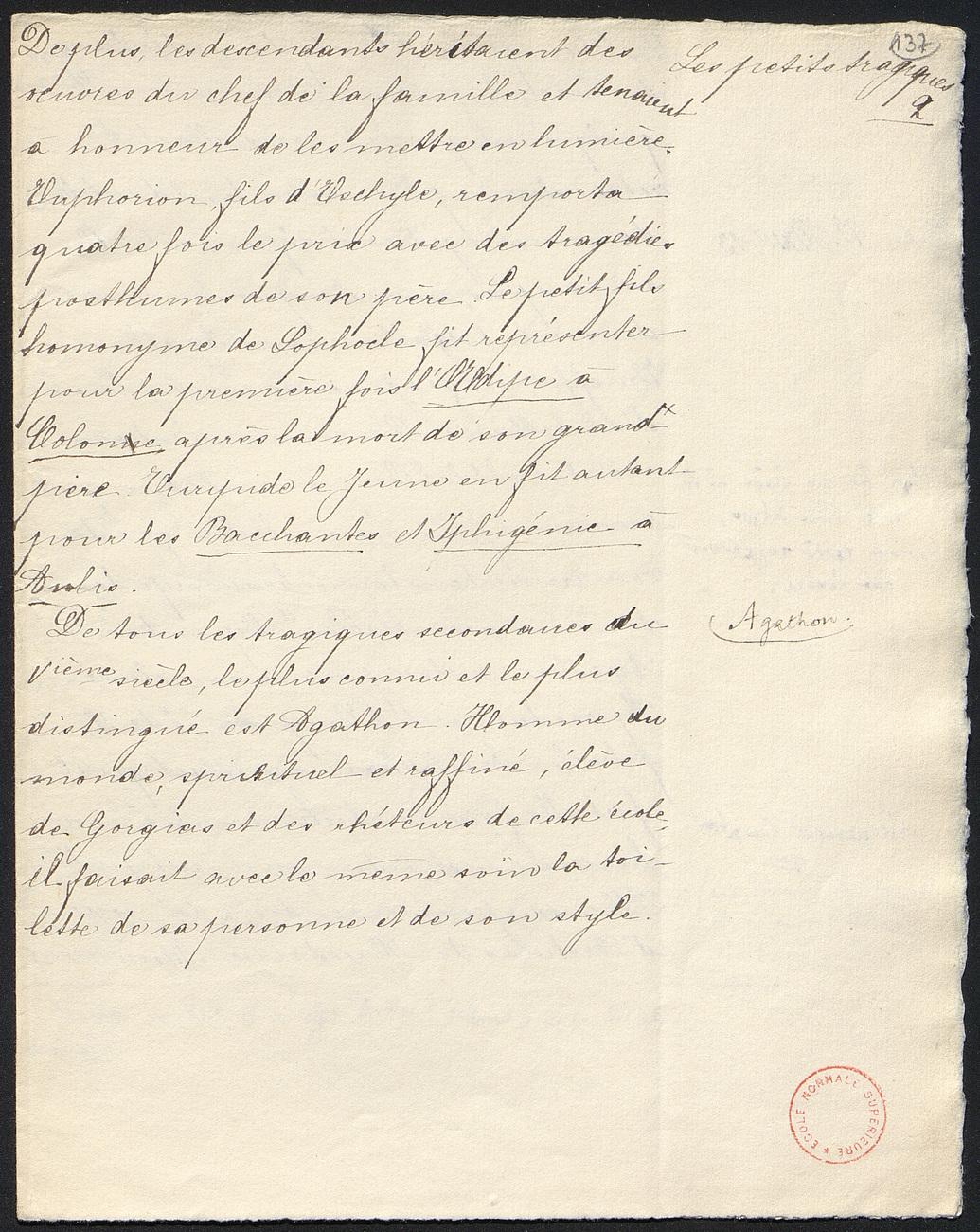 [folio 137 : foliotation de la main de bibliothécaire]
