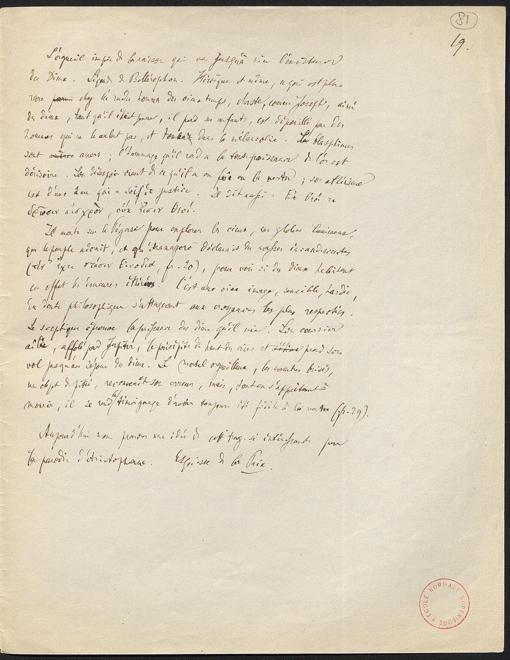 [folio 81 : foliotation de la main de bibliothécaire]