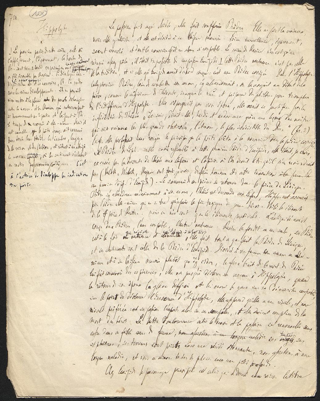 [folio 100 : foliotation de la main de bibliothécaire]