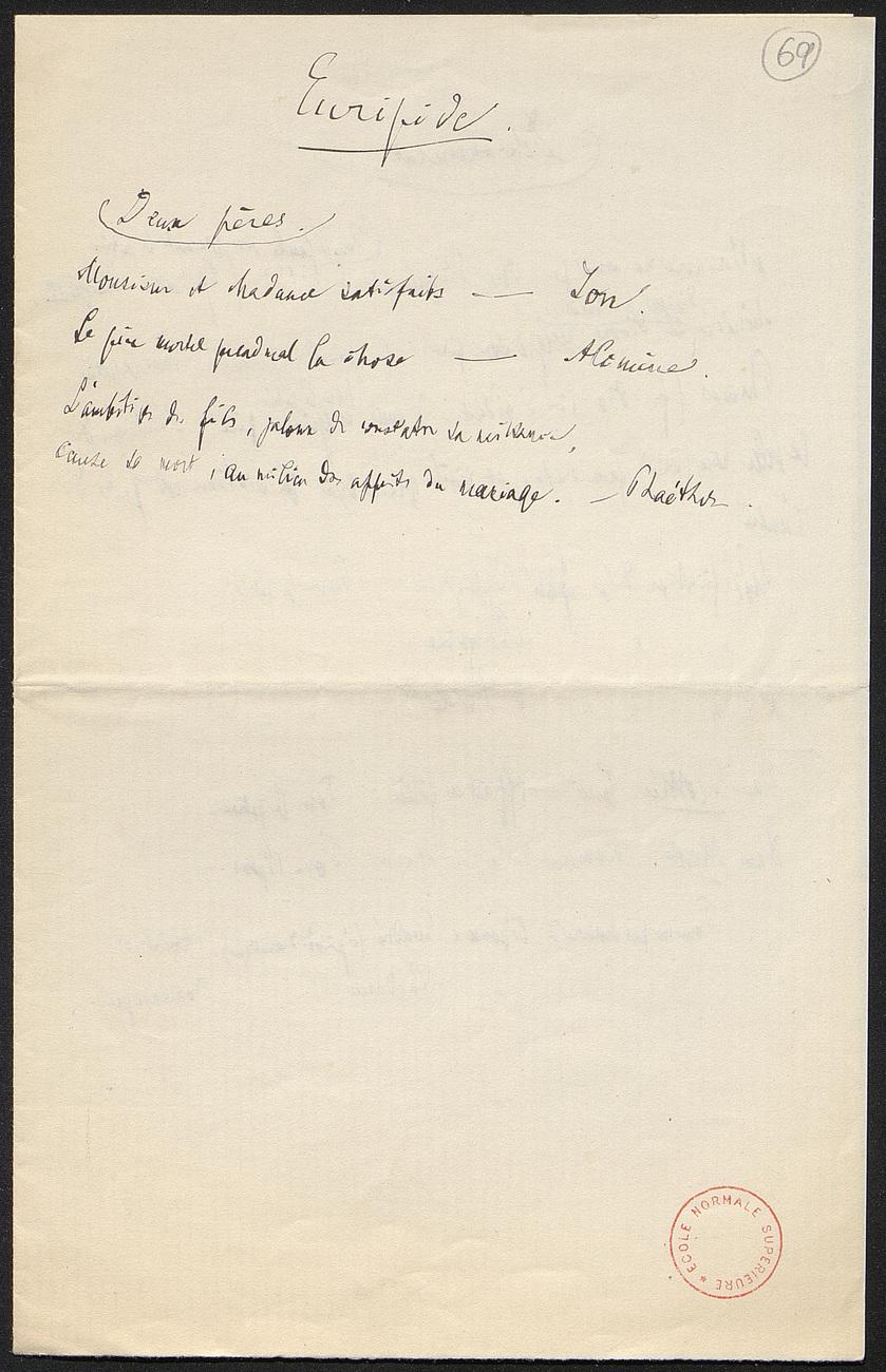 [folio 69 : foliotation de la main de bibliothécaire]