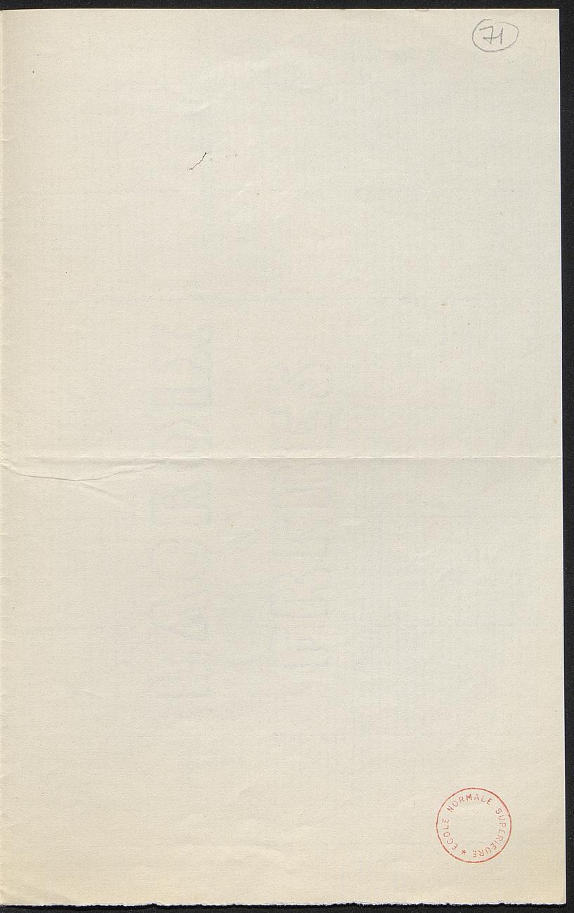 [folio 71 : foliotation de la main de bibliothécaire]