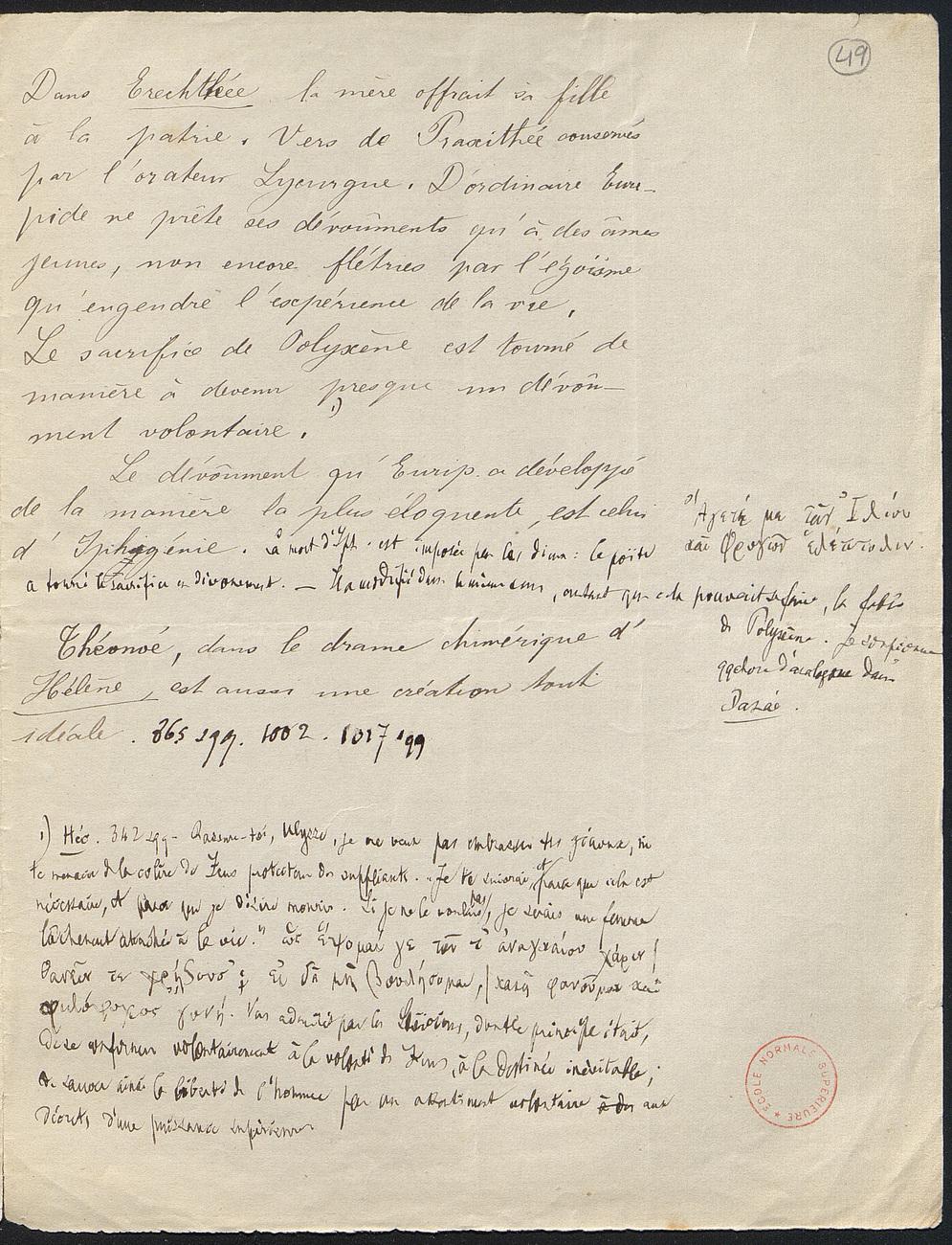[folio 49 : foliotation de la main de bibliothécaire]