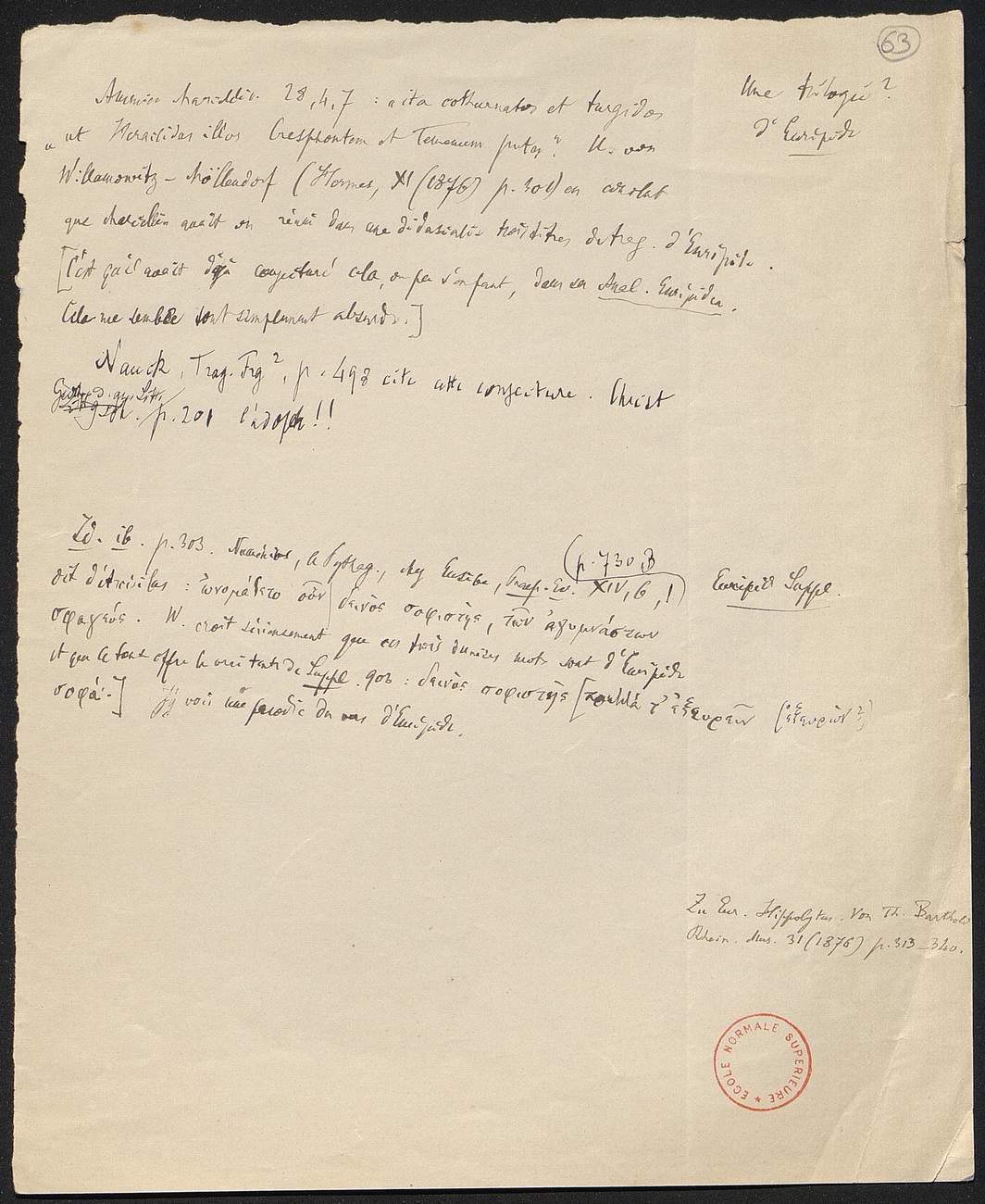 [folio 63 : foliotation de la main de bibliothécaire]