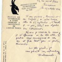 Lettre à Jean Ballard 25-10-1931
