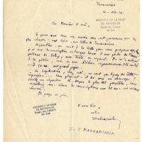 Lettre à Jean Ballard 20-12-1931