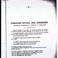 Discours rituel des sihanaka