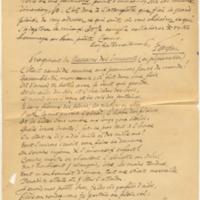 """Lettre de Fagus avec poème """"Massacre"""""""