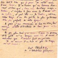Lettre de Paul Valéry s.d.